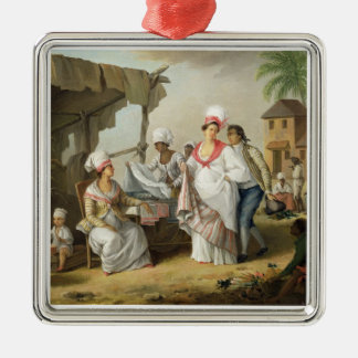 Linen Market, Roseau, Dominica, c.1780 (oil on can Christmas Ornament