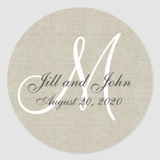 Linen Monogram Wedding Favour Sticker