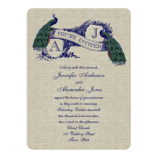 "Linen Peacock Rustic Wedding Invitation 5.5"" X 7.5"" Invitation Card"