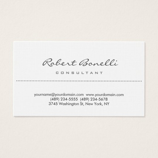 Linen Plain Simple Script Consultant Business Card