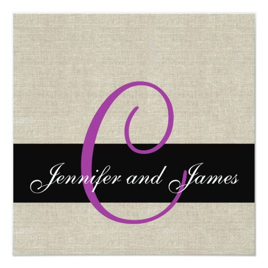 Linen Rustic Wedding Invitation Monogram Purple