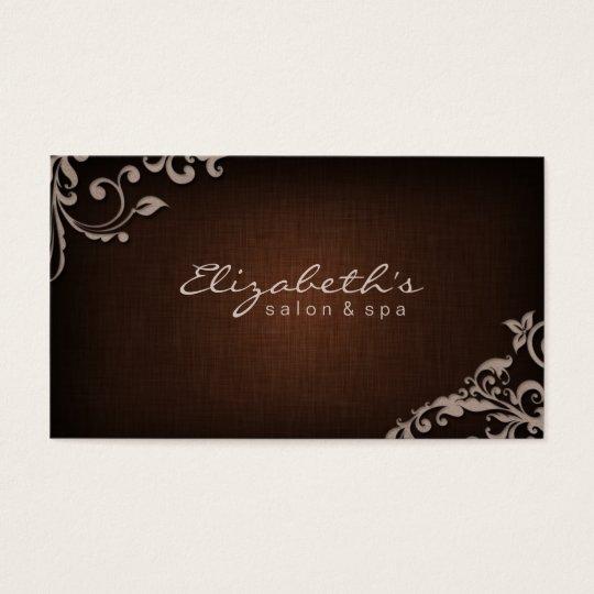 Linen Salon Spa Floral Flowers Brown Beige Business Card