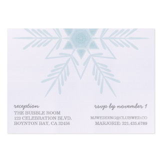 linen snowflake MODERN WEDDING rsvp reception card Pack Of Chubby Business Cards