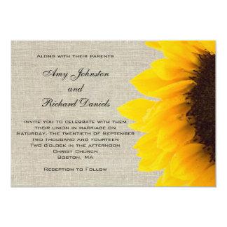 Linen Sunflower Rustic Wedding Invitation