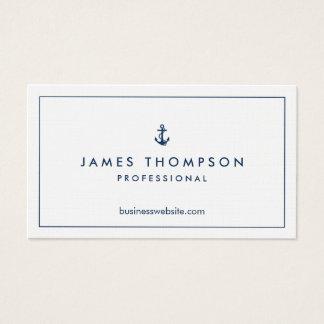 Linen Texture Anchor Logo Professional Classic Business Card