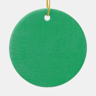 Linen Texture Fabric Background // Kelly Green Round Ceramic Decoration