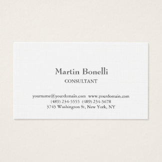 Linen Unique Classical Simple White Business Card