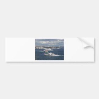 Liner and Ferry In The Bosphorus Bumper Stickers