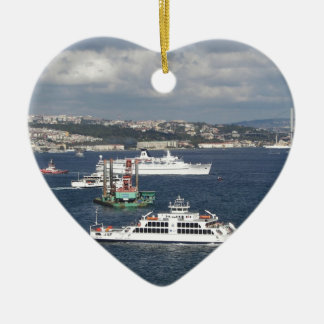 Liner and Ferry In The Bosphorus Ceramic Heart Decoration