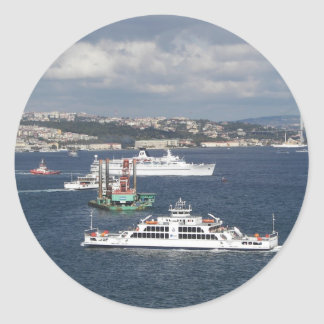 Liner and Ferry In The Bosphorus Classic Round Sticker