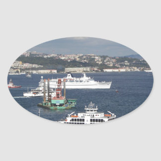 Liner and Ferry In The Bosphorus Oval Stickers