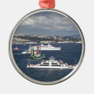 Liner and Ferry In The Bosphorus Silver-Colored Round Decoration