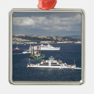 Liner and Ferry In The Bosphorus Silver-Colored Square Decoration