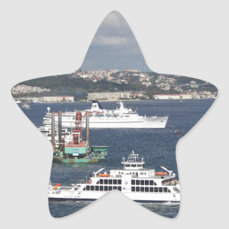 Liner and Ferry In The Bosphorus Star Sticker