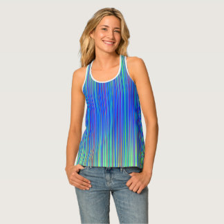 Lines 103, blue and green multi hued gradated line tank top