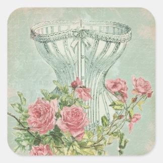 Lingerie Bridal Shower Favor Tags Antique Floral Square Sticker