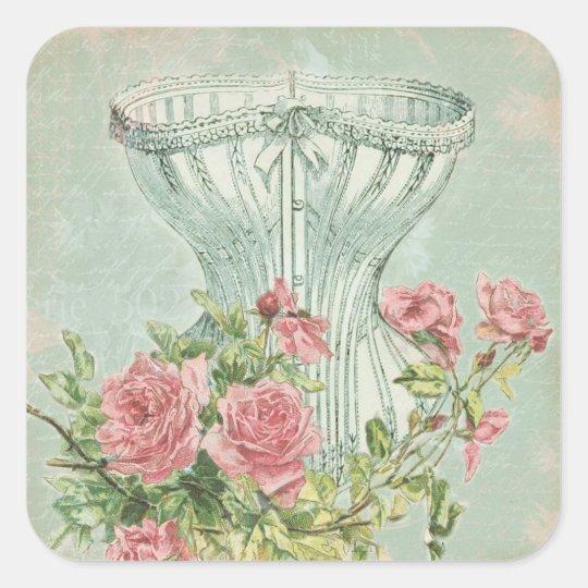 Lingerie Bridal Shower Favour Tags Antique Floral Square