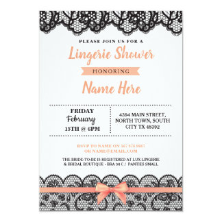 Lingerie Shower Bow Invitation Peach Black Lace