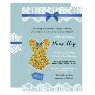 Lingerie Shower Bridal Gold Blue Glitter Invite