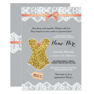 Lingerie Shower Bridal Gold Coral Glitter Invite