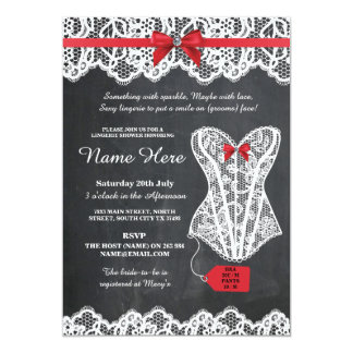 Lingerie Shower Bridal Party Chalk Red Lace Invite