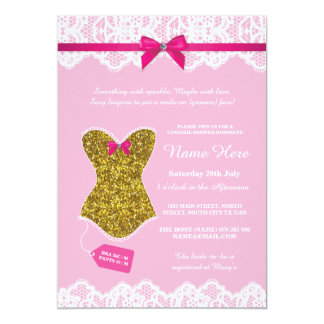 Lingerie Shower Bridal Party Gold Pink Corset Card