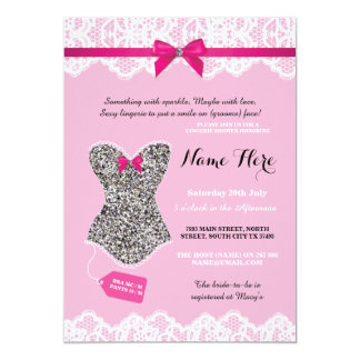 Lingerie Shower Bridal Silver Glitter Invite