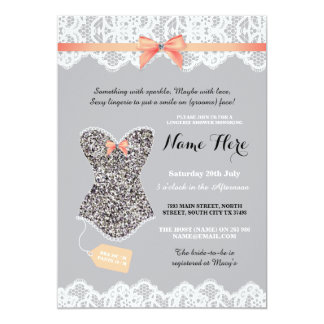 Lingerie Shower Bridal Silver Grey Glitter Invite
