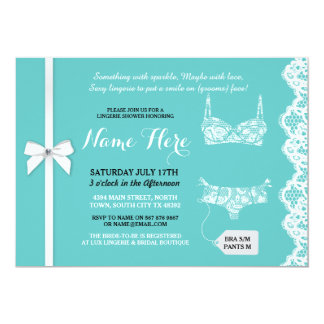 Lingerie Shower Invite Aqua White Lace Bridal