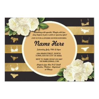 Lingerie Shower Invite Beige Floral Bridal Party
