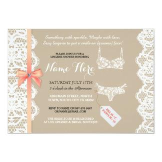 Lingerie Shower Invite Coral Bridal Party Lace