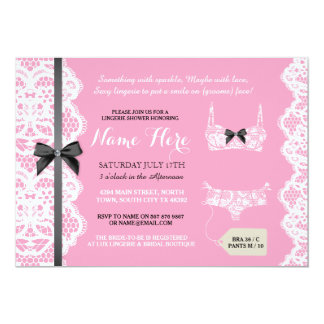 Lingerie Shower Invite Lace Bow Pink & Black