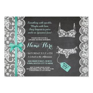 Lingerie Shower Invite Mint Bridal Party Lace