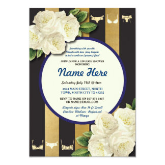 Lingerie Shower Invite Navy Floral Bridal Party
