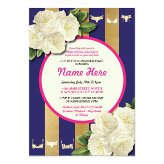 Lingerie Shower Invite Pink Floral Bridal Party