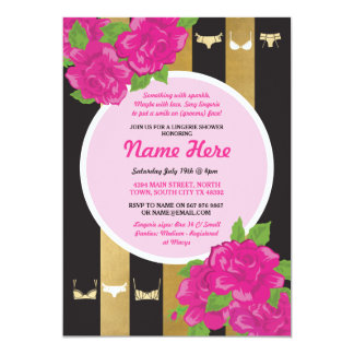 Lingerie Shower Invite Pink Gold Bridal Party
