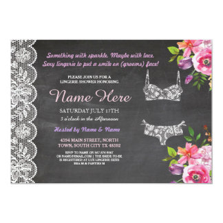 Lingerie Shower Lace Floral Bridal Invitation