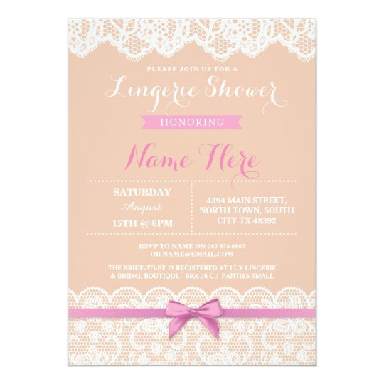 Lingerie Shower Lace Pink Bow Invitation