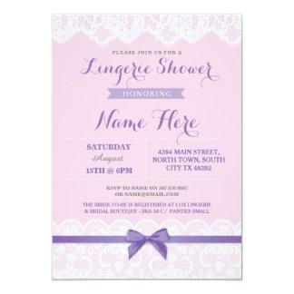 Lingerie Shower Lace Pink Purple Bow Invitation
