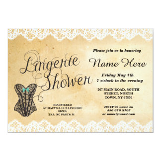 Lingerie Shower Party Lace Corset Mint Bow Invite