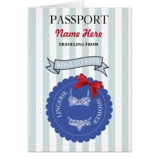Lingerie Shower Passport Blue Red Plane Invite