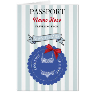 Lingerie Shower Passport Blue Red Plane Invite Card