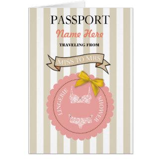 Lingerie Shower Passport Coral Plane Invite Card