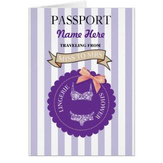 Lingerie Shower Passport Purple Plane Invite Card