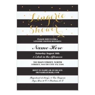 Lingerie Shower Stripe Black Gold Party Invite