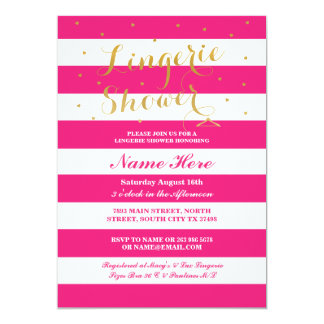 Lingerie Shower Stripe Pink Gold Party Invite