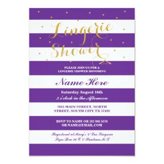 Lingerie Shower Stripe Purple Gold Party Invite