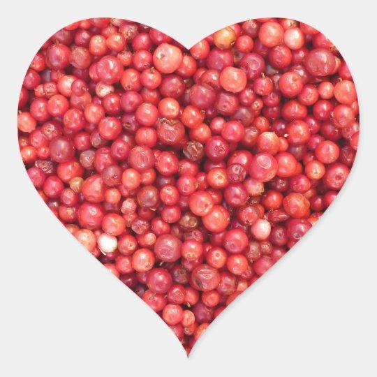 Lingonberry background heart sticker