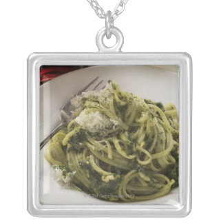 Linguine with pesto and Parmesan, red wine Silver Plated Necklace