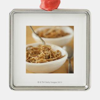 Linguini with Pepper pesto Silver-Colored Square Decoration